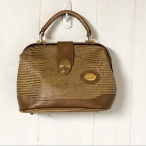 Vintage Tan Faux Croc Top Handle Bag/ Purse